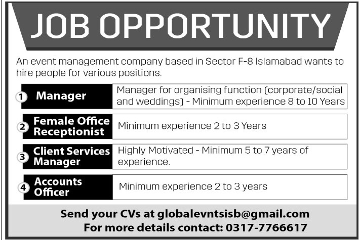 Jobs in Event Management Company Sector F 8 Islamabad Oct 2017