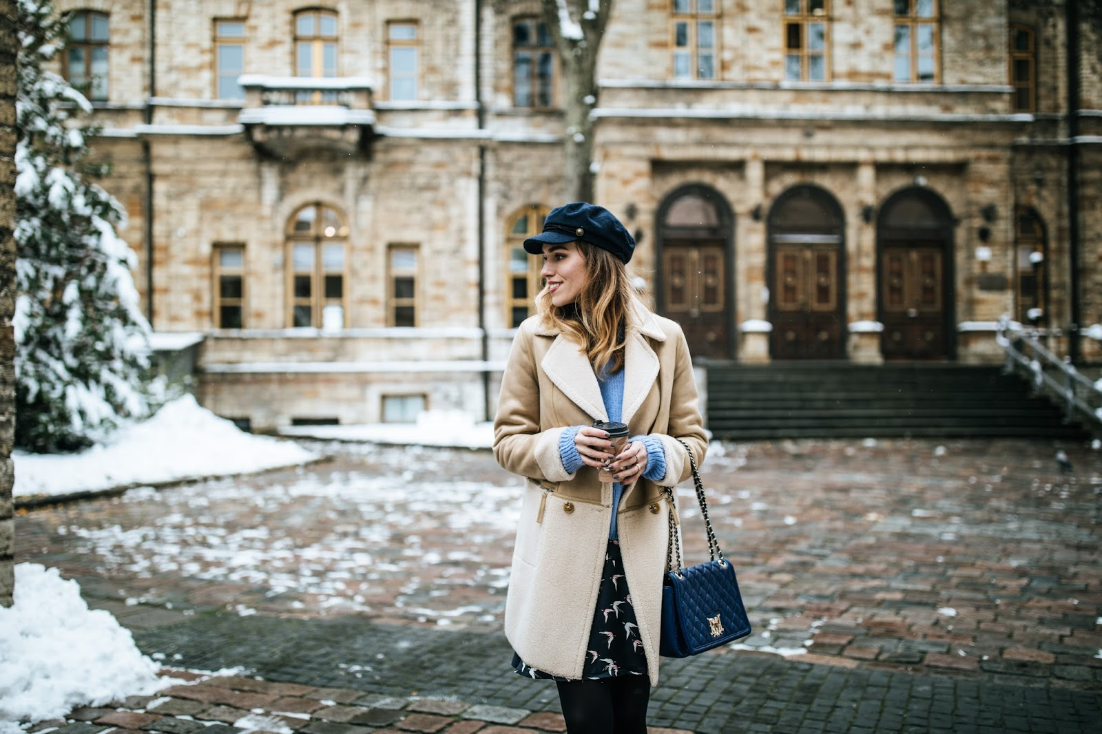 shearling jacket sweater fall outfit