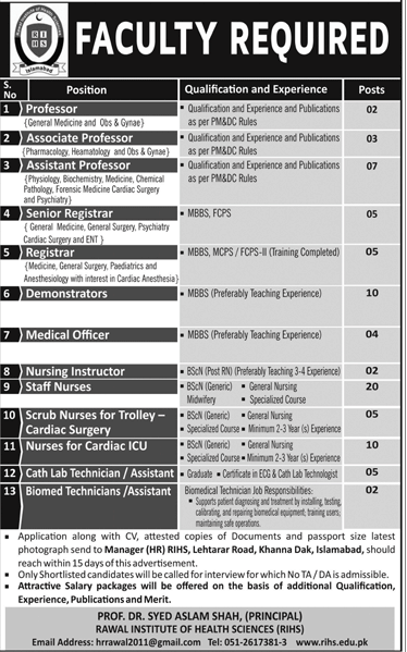 Doctors Jobs in Rawal Institute of Health Sciences