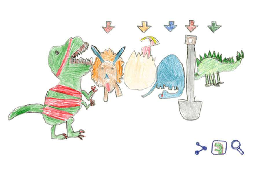 Second Grader Wins Annual Doodle For Google Contest Featuring Dinosaurs