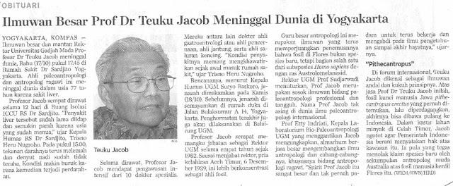 prof jacob rektor Ugm, ahli paleonatropologi Indonesia Asal Aceh