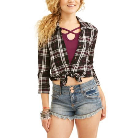 Walmart No Boundaries plaid button-front blouse with caged t-shirt