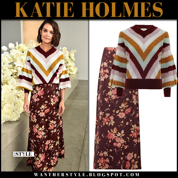 Katie Holmes in chevron sweater and floral maxi skirt zimmermann fashion week style september 10