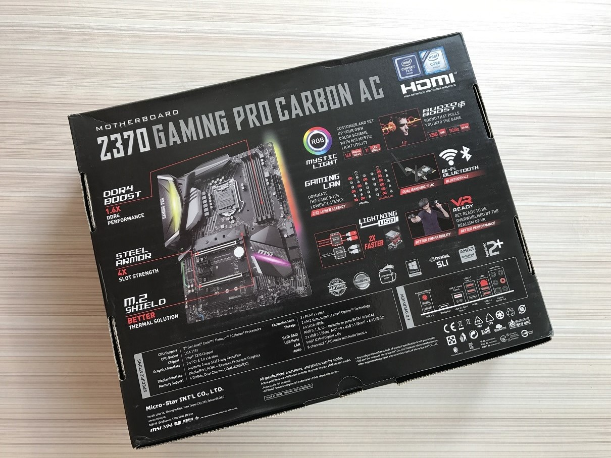 Msi Z370 Gaming Pro Carbon Ac Review Computers And More Reviews Motherboard Diagram In Detail A Detailed Marked Of The Is Printed One Corner Highlighting All Physical Features On