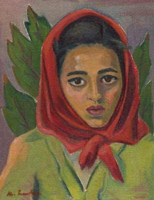 Portrait of a Woman with a Head Scarf, Leaves in a Background, Maggie Laubser