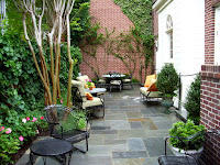 Narrow backyard patio