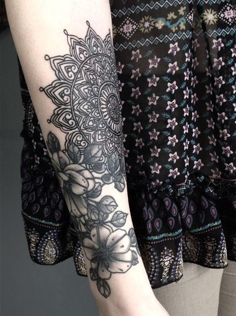 Beautiful Floral Forearm Tattoo For Girls