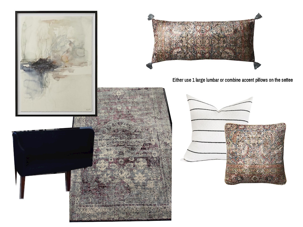 CAD Interiors e-design online interior design decorating entryway transitional decor accessories styling modern traditional art rug pillows