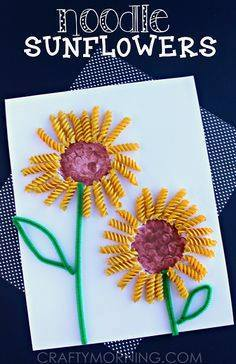 Idea to make noodle sunflowers for kids