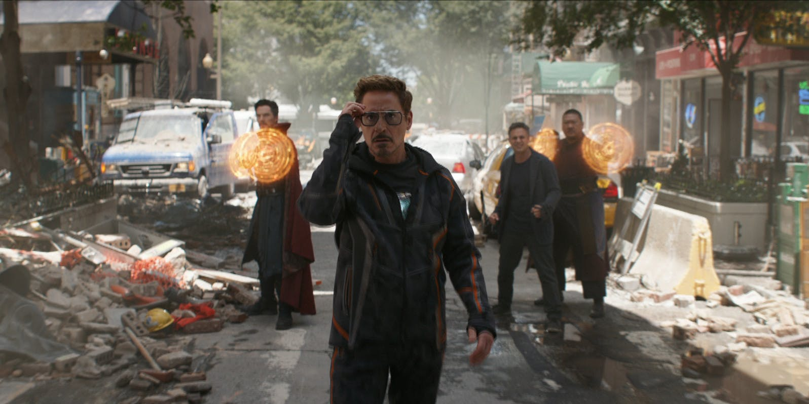 Benedict Cumberbatch as Doctor Strange, Tony Stark as Robert Downey Jr., Mark Ruffalo as Bruce Banner and Benedict Wong as Wong in 'Avengers:Infinity War'