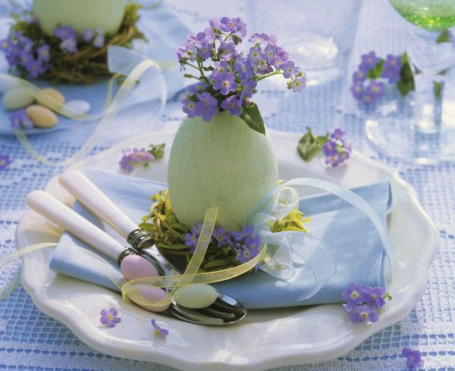 ... for Easter. Lettuce bed and some lovely brown eggs. Inviting
