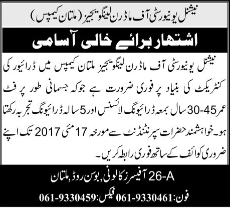 Multan NUML Jobs In National University Of Modern Languages 3 May 2017