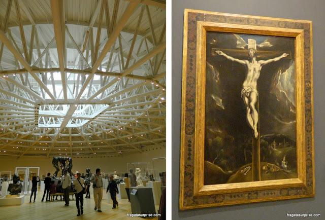 Esculturas de Rodin e tela de El Greco no Museu Soumaya, Cidade do México
