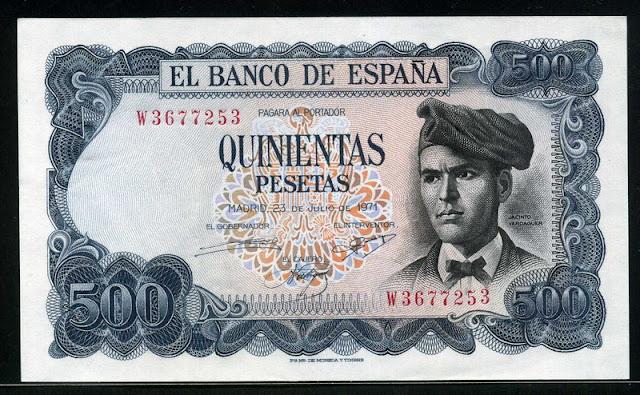 Spain currency money 500 Pesetas banknote Verdaguer