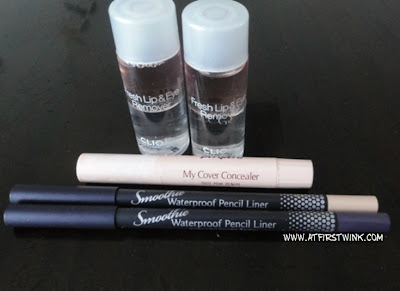 Peripera smoothie waterproof pencil liner purple and beige and my cover concealer stick