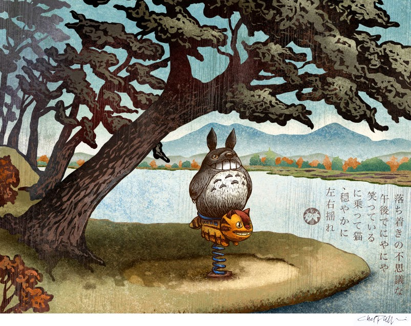 04-Totoro-&-the-Catbus-Chet-Phillips-Childhood-Japanese-Styled-Illustrations-www-designstack-co