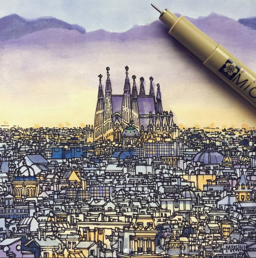 13 Artistic Illustrations Of Famous Places Around The World - Barcelona, Spain