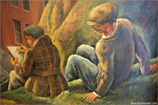 Autoretrato de José Moya del Pino en los Murales de la Torre Coit Observando a otro Pintor