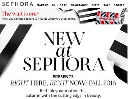 Sephora Pay With Gift Cards Online + Fall Preview Free Samples Promo Code