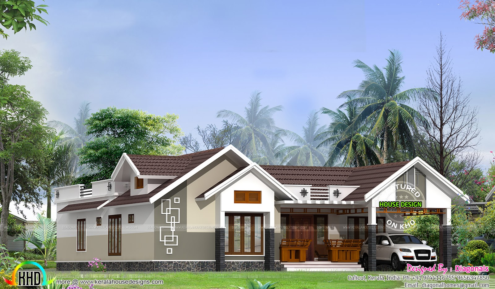 Modern single floor 4 bedroom home kerala home design for Kerala home roof designs