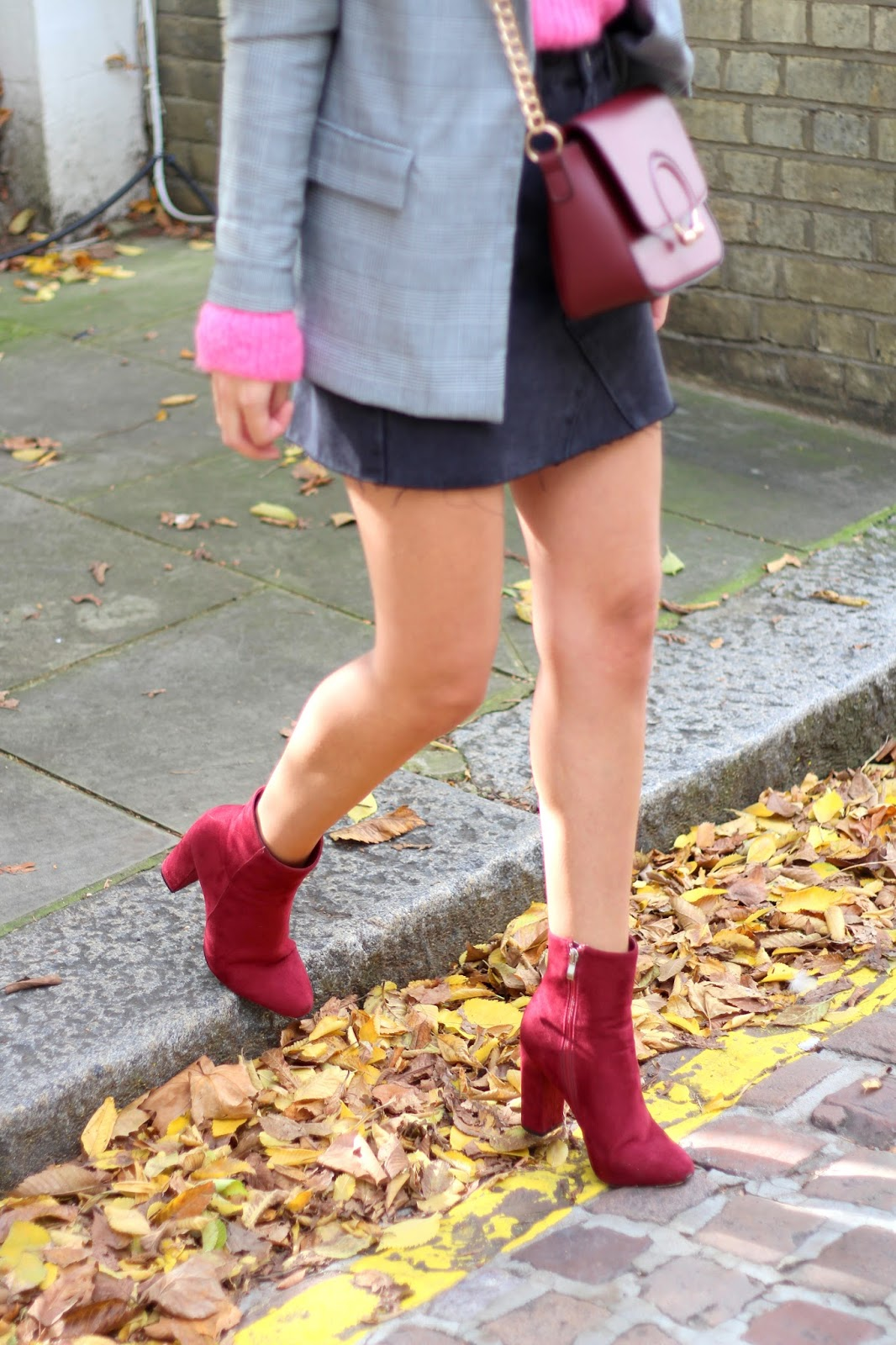 autumn style velvet burgundy ankle boots