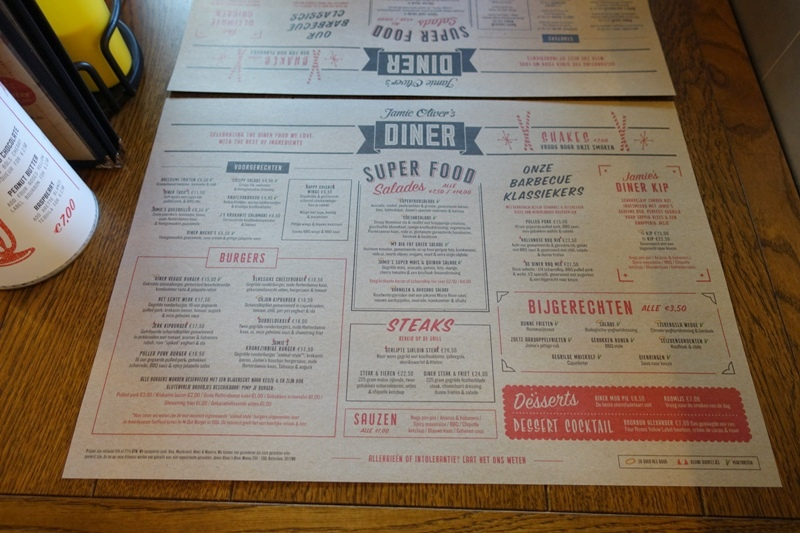Jamie's Diner Rotterdam paper menu placemats