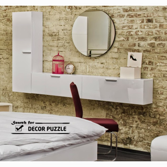 modern white dressing table with mirror, wall mounted dressing table
