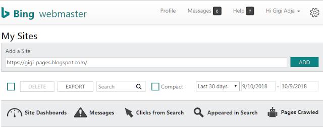 Menambahkan URL Situs ke Bing