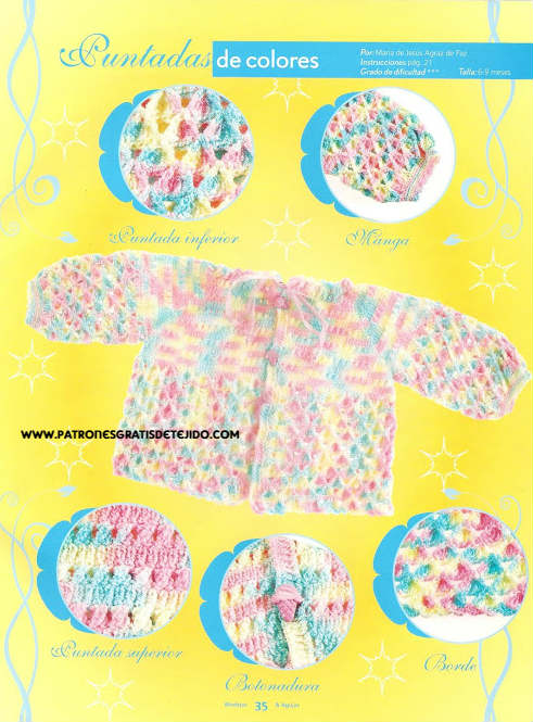 saco de bebe tejido en tonos pastel