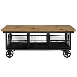 Industrial Coffee Table with Storage Bins