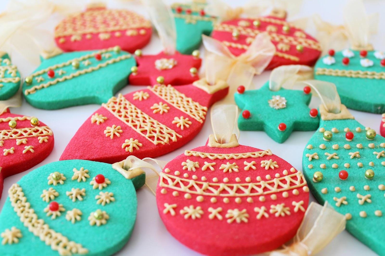 Galletas Navidad Decoradas Forma Bola De Arbol De Navidad