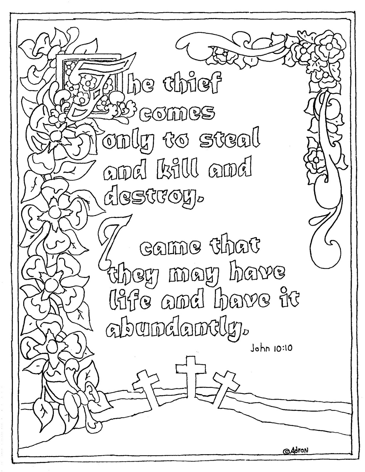 Coloring pages for john 9 - Printable John 10 10 Coloring Page In Illuminated Text Style