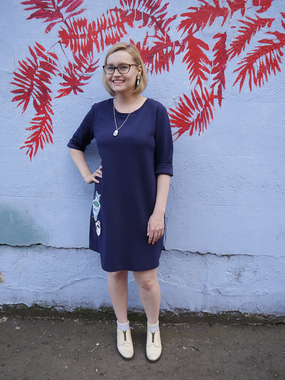 blue outfit, oversized slouchy dress, monki dress, cactus jewellery, modern fashion silhouette, uk style blogger, wardrobe conversations, sew on patch, the whitepepper,