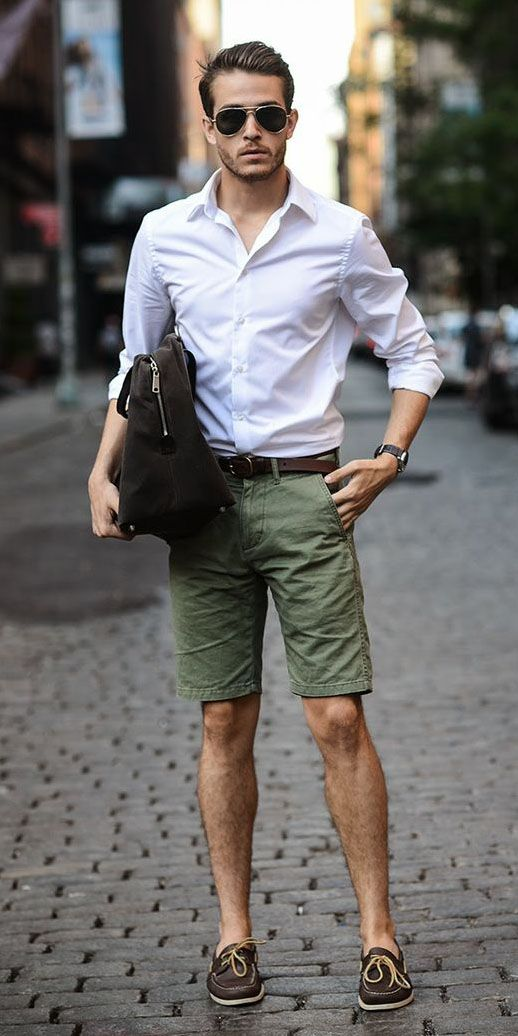 look masculino com bermuda verde militar