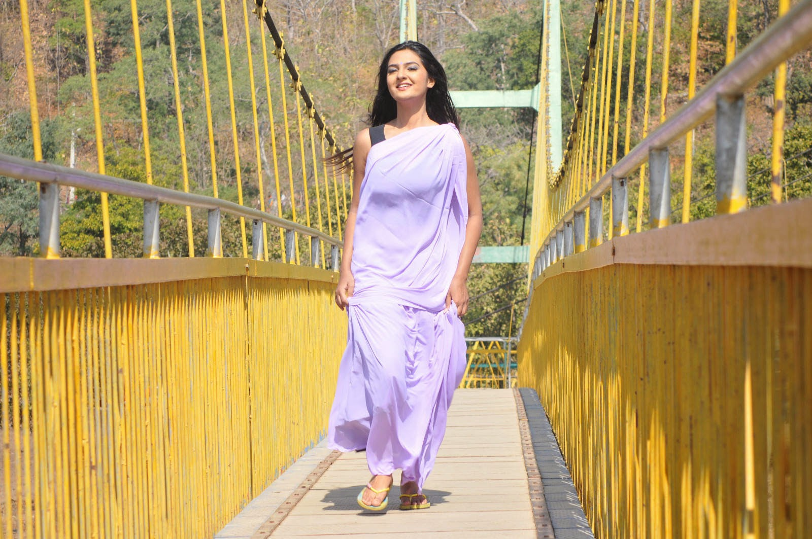 Neha Deshpande Pics in Violet Saree From The Bells Movie, Neha Deshpande Sare HD Wallpapers from The Bells Movie