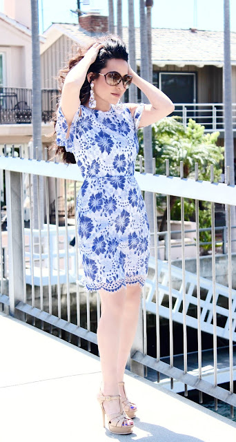 summer dress summer style summer sundess YSL Tribute platform sandal California fashion lifestyle blogger petite fashion blogger A Stylish Love Story Joanna Joy blue and white floral lace French Connection Tom Ford sunglasses Forever 21 earrings