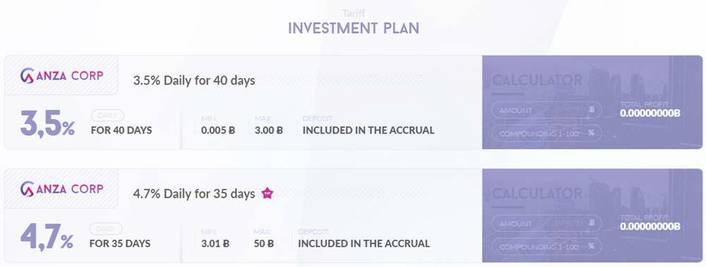 Инвестиционные планы Coinanza