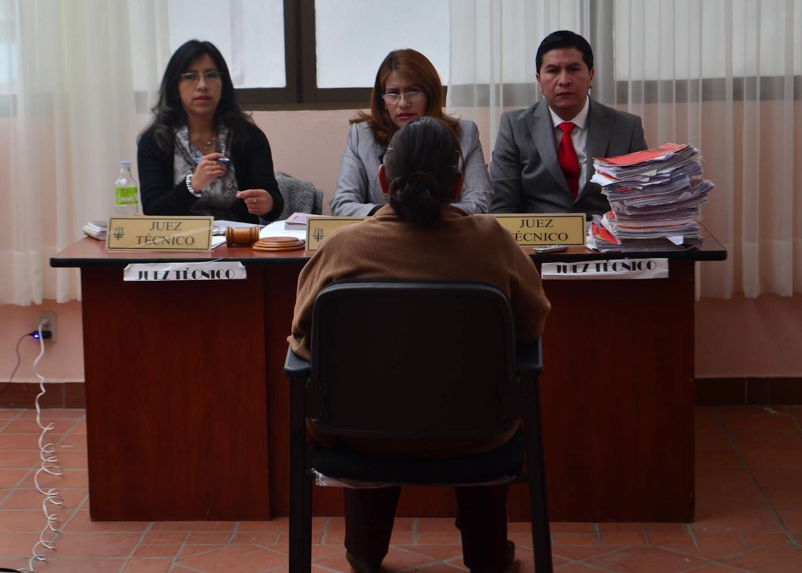 Patricia Pacajes junto a dos jueces dictaron sentencia al médico Jhiery Fernández / CARLOS QUISBERT