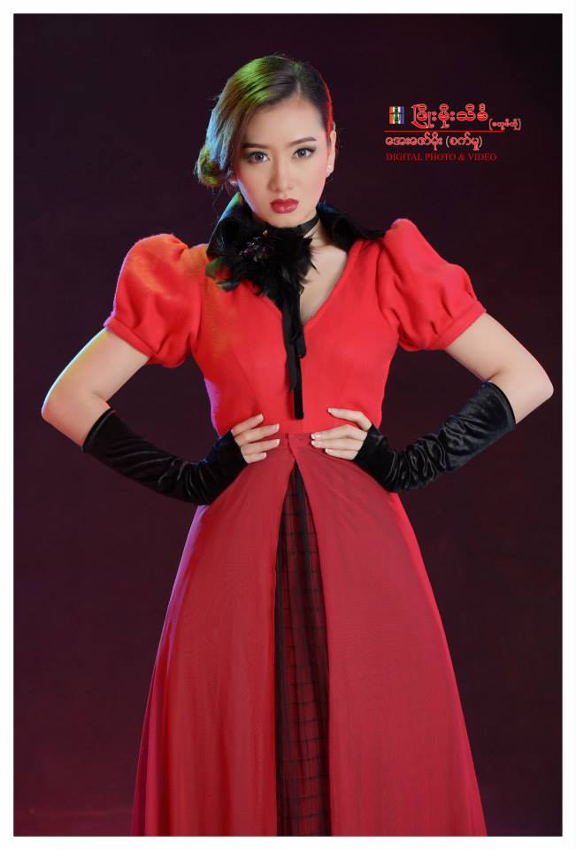 Yu Thandar Tin with the Red Queen Fashion Dress