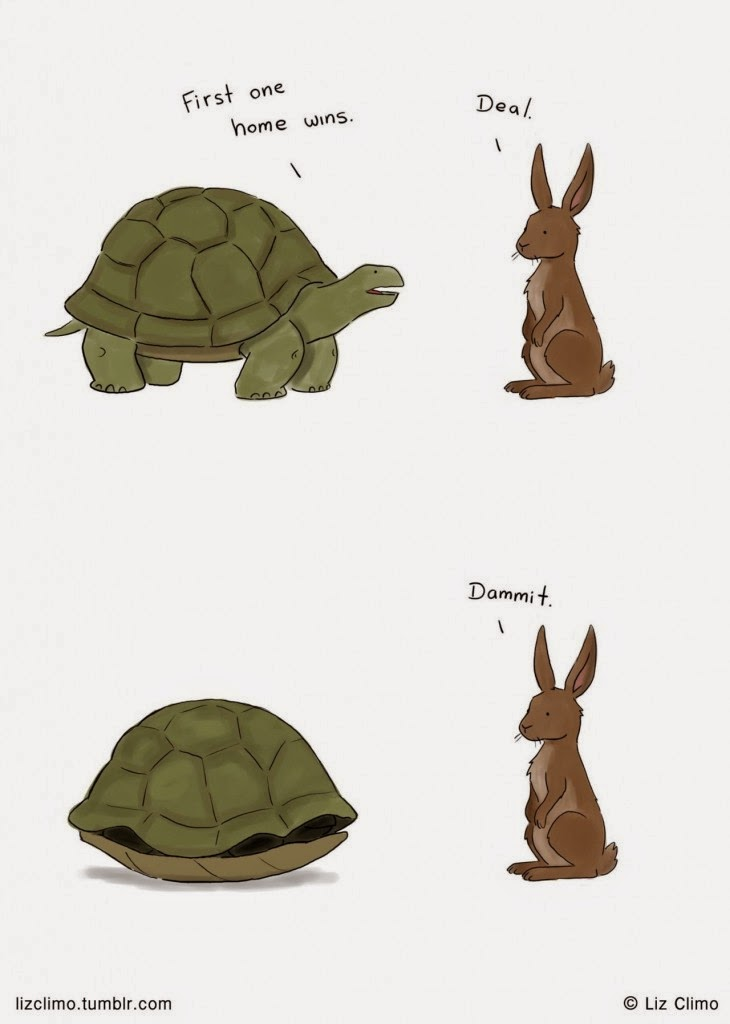 Funny Tortoise Hare Race Home Cartoon Joke Picture
