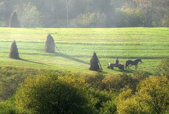 Na przeciwległym wzniesieniu gospodarz zjeżdża już furmanką do wsi.
