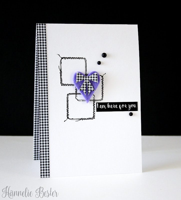 stitched squares and felt heart card