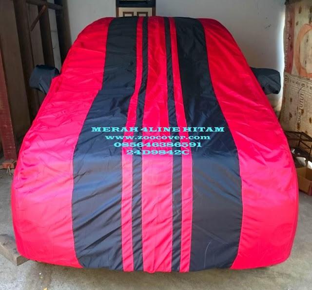 Jual Cover Mobil Merah 4line Hitam custom menggunakan bahan yang bagus waterproof import korea Sarung Mobil kualitas super kombinasi warna Selimut Mobil harga murah produk terbaik penutup mobil dan pelindung mobil anda dari debu, panas matahari, tahan air dan panas