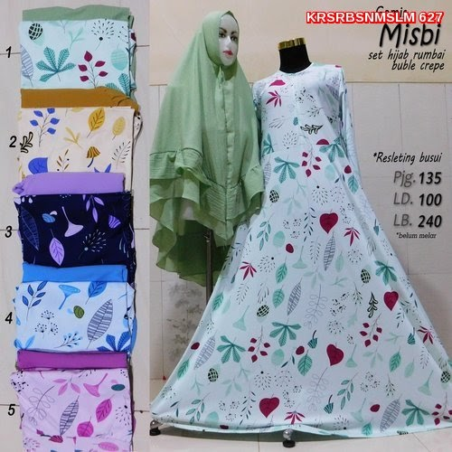 KRS627 Model Baju Muslim MISBI Gamis SET Murah BMG Shop