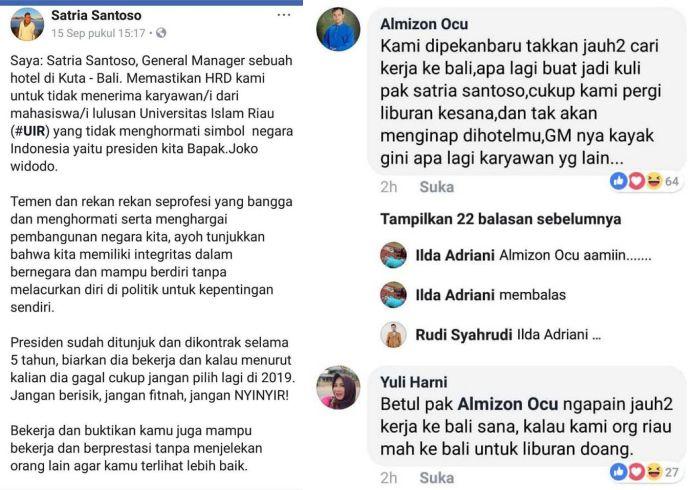 Dianggap Tak Hormati Jokowi, GM Hotel Bali Tak Terima Lulusan Universitas Islam Riau! Tanggapan Warga Riau Mak Jleb!