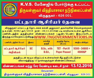 Applications are invited for BT Assistant Science Teacher Post in Thiruvalluvar Vidhyasala Middle School Virudhunagar (Govt Aided)