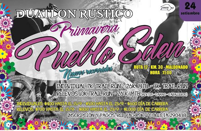 Duatlón rústico Primavera en Pueblo Edén (Maldonado, 24/sep/2017)