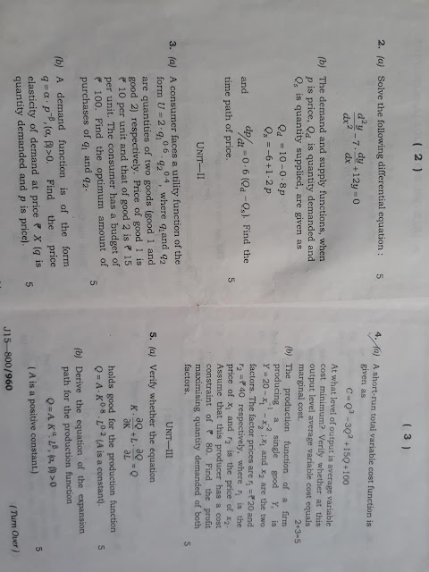 B A  Economic Honours 2nd Sem  Previous Year Question Paper