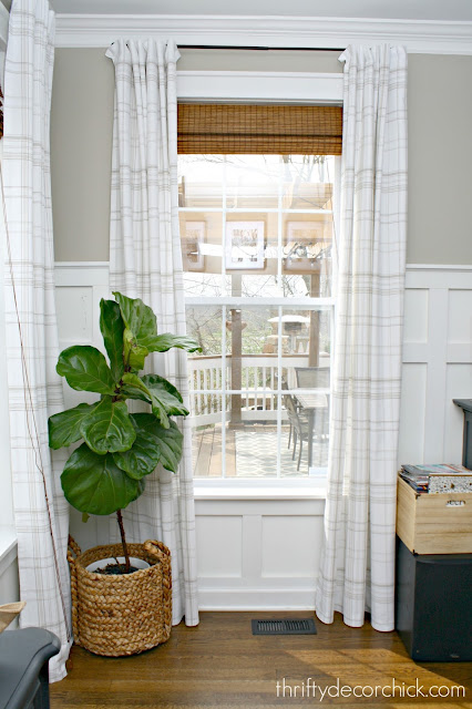White and tan plaid drapes