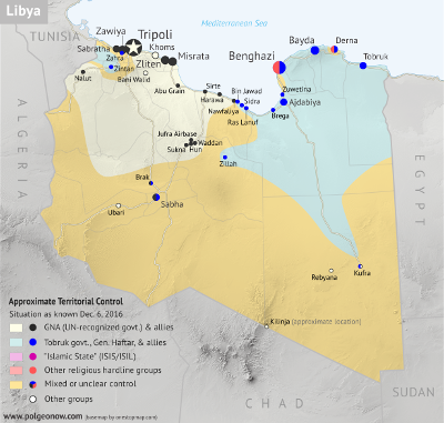 Libya control map: Shows detailed territorial control in Libya's civil war as of December 2016, including all major parties (Government of National Accord (GNA); Tobruk House of Representatives, General Haftar's Libyan National Army, Zintan militias, Petroleum Facilities Guard (PFG); Tripoli GNC government, Libya Dawn, and Libya Shield Force; Shura Council of Benghazi Revolutionaries and other hardline Islamist groups; and National Salvation Government). Also file under: Map of Islamic State (ISIS or ISIL) control in Libya. Now includes terrain and major roads. Colorblind accessible.